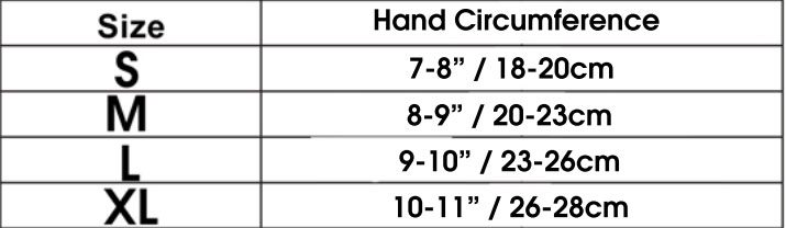 Gloves+size+chart