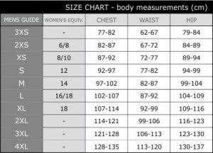 Scody Size Chart